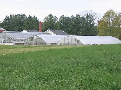 View of greenhouses across a field